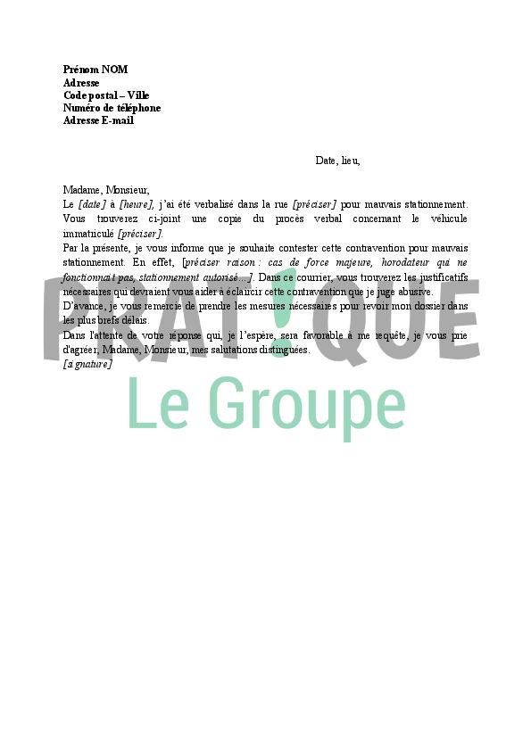 Lettre Pour Contester Un Pv De Stationnement Pratique Fr