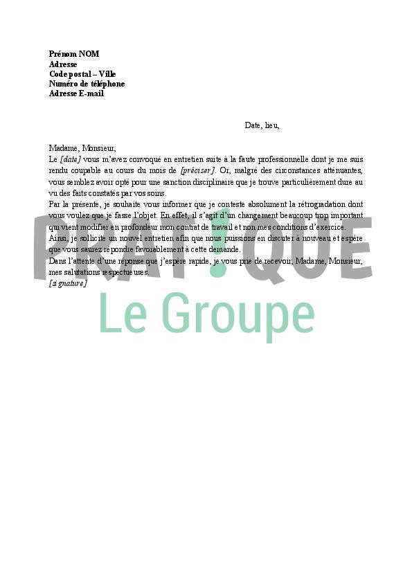Lettre Pour Contester Une Retrogradation Professionnelle Pratique Fr