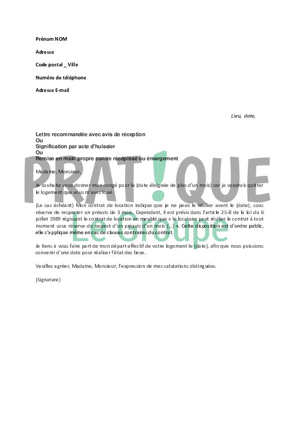 Lettre Pour Donner Conge A Son Bailleur Pratique Fr