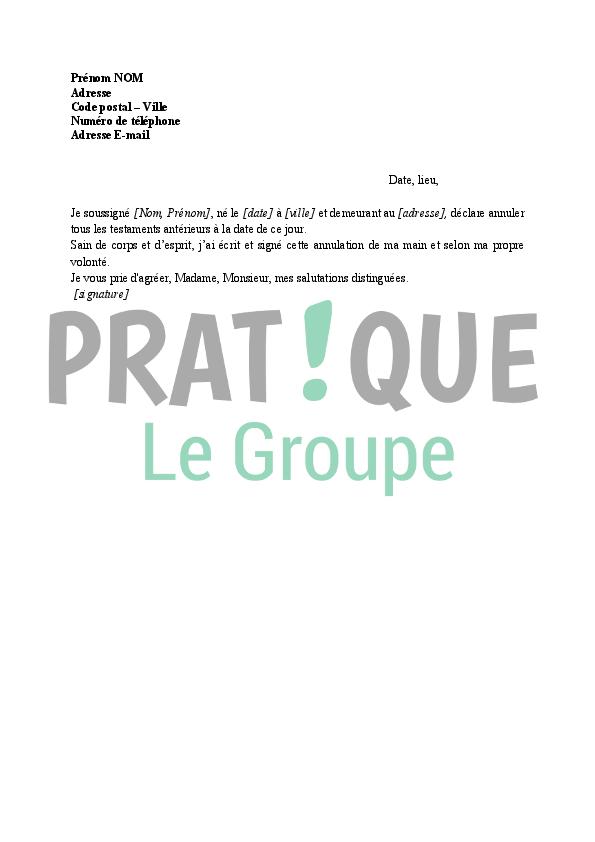 Lettre Pour Revoquer Un Testament Pratique Fr