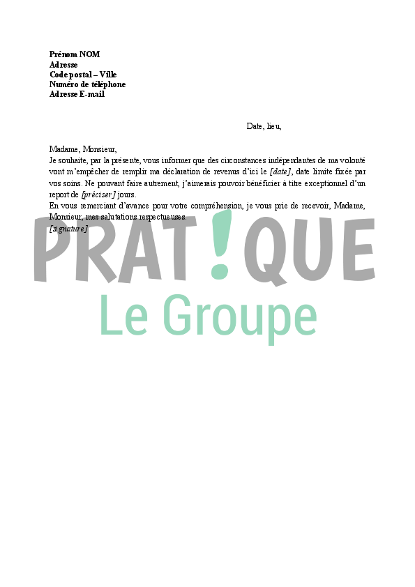 Lettre Pour Une Demande De Report De La Declaration De Revenus