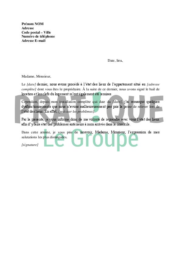 lettre pour une demande de r u00e9vision de l u0026 39  u00e9tat des lieux d