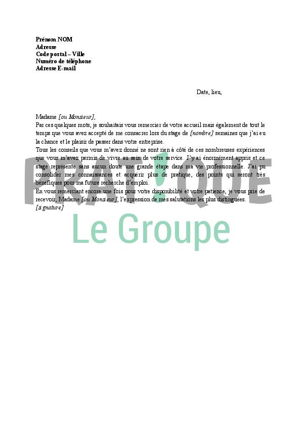 Lettre remerciements à la fin d'un stage | Pratique.fr