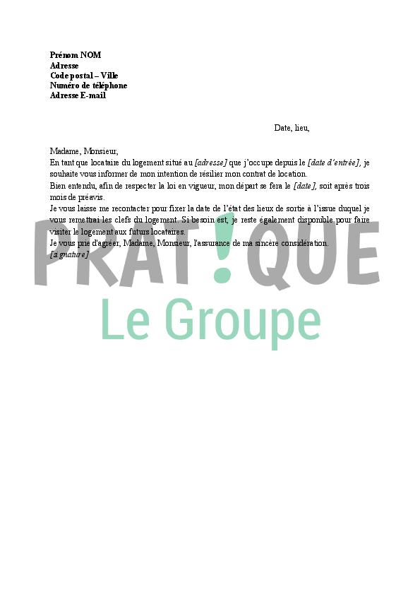Lettre résiliation de bail avec 3 mois de préavis | Pratique.fr