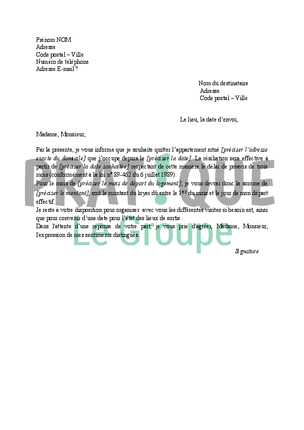Modele lettre resiliation bail suite separation document for Assurance pour garage seul