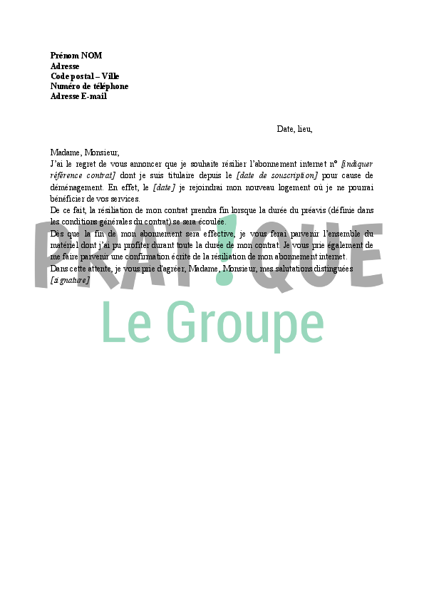 Lettre résiliation de l'abonnement Internet suite à un déménagement | Pratique.fr