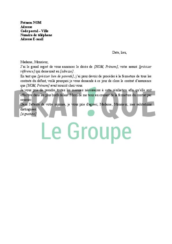 lettre r u00e9siliation du contrat d u0026 39 assurance suite au d u00e9c u00e8s