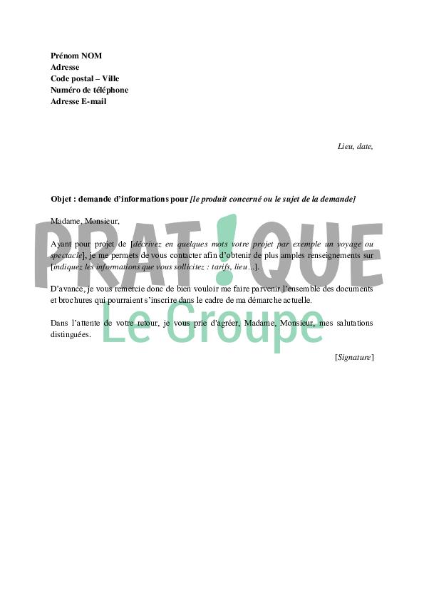 Lettre Type De Demande D Informations Pratique Fr