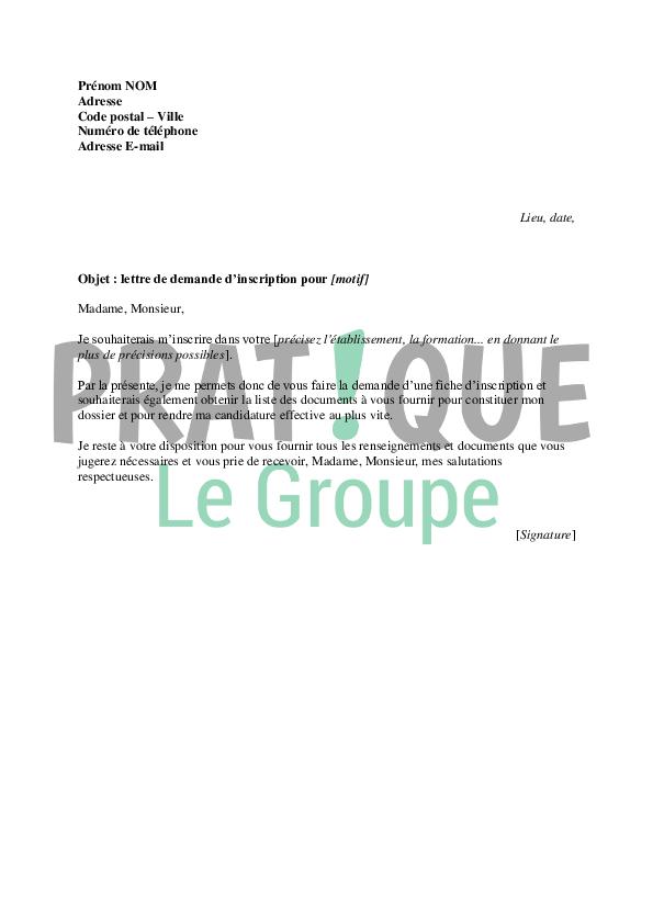 Lettre Type De Demande D Inscription Pratique Fr