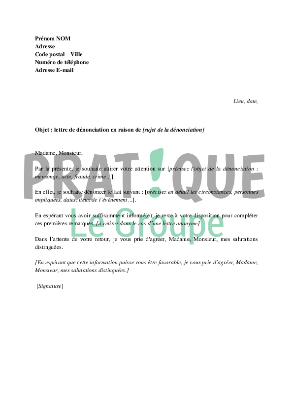 lettre type de d u00e9nonciation