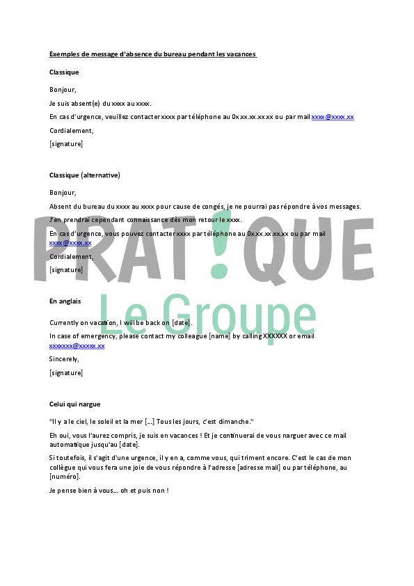Message D Absence Du Bureau Pratique Fr