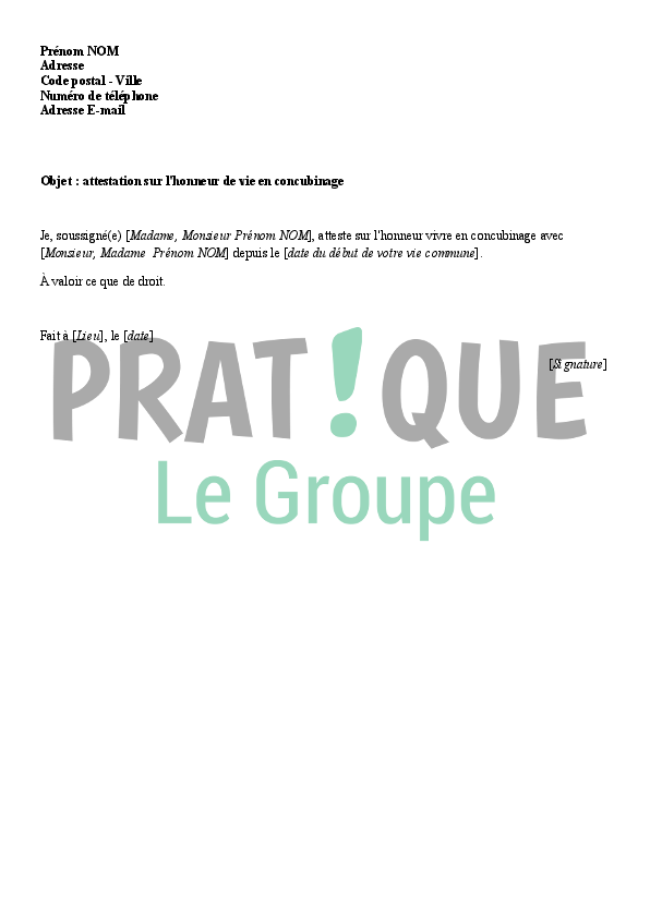 Modele D Attestation Sur L Honneur De Concubinage Pratique Fr