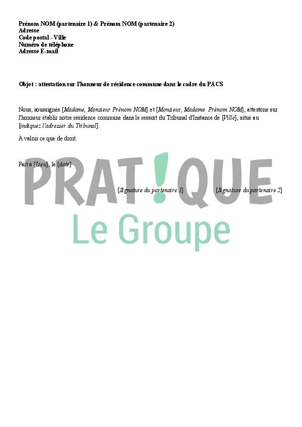 Modele D Attestation Sur L Honneur De Residence Commune Pour Le Pacs