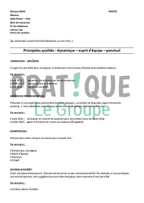exemple cv job d ete etudiant