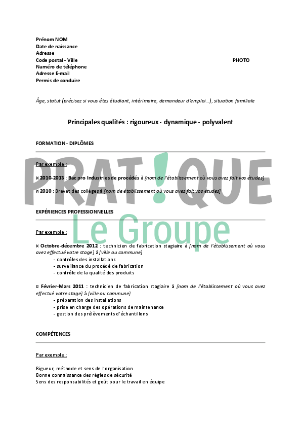 mod u00e8le de cv pour int u00e9grer un iut chimie