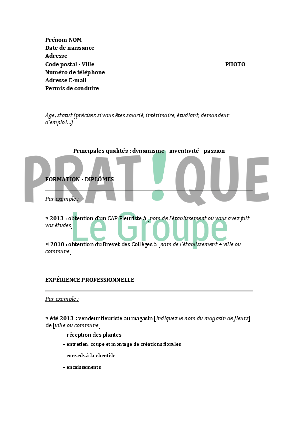 mod u00e8le de cv pour un brevet professionnel de fleuriste