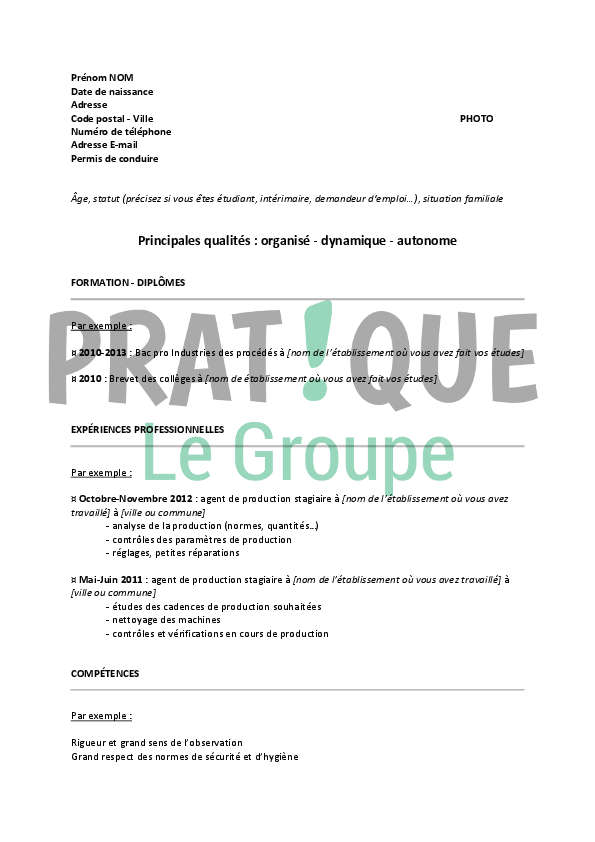 exemple cv agent de production