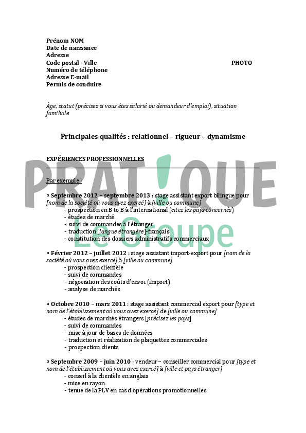 mod u00e8le de cv pour un emploi d u0026 39 assistant export bilingue d u00e9butant