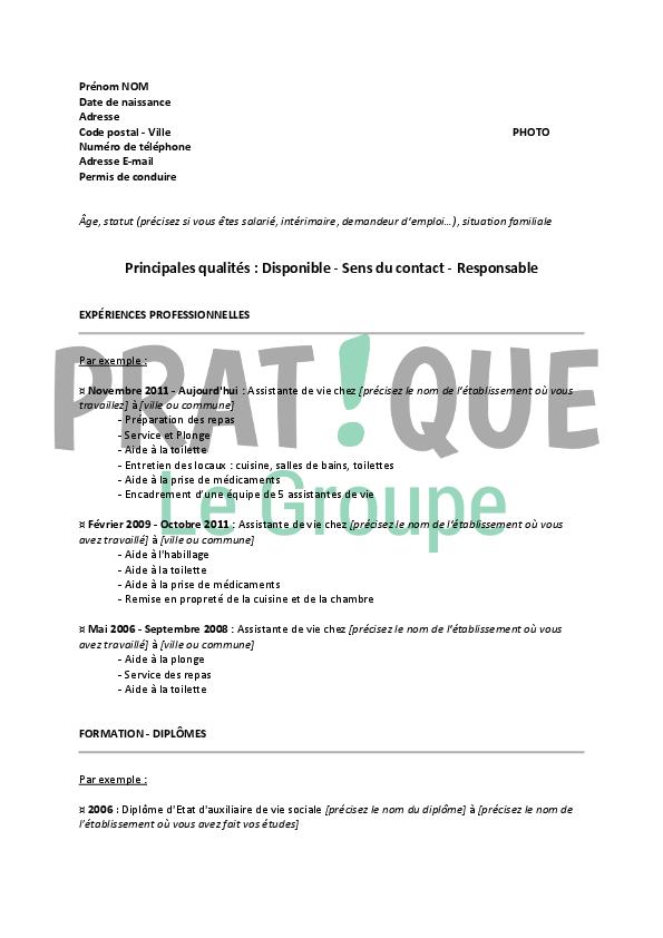 mod u00e8le de cv pour un emploi d u0026 39 assistante de vie confirm u00e9e
