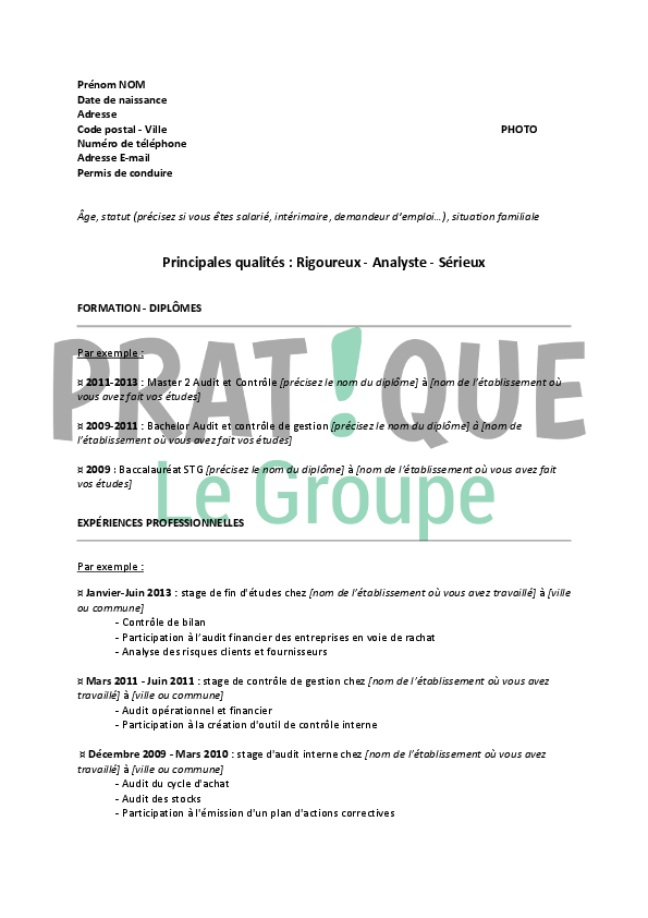 exemple cv auditeur junior