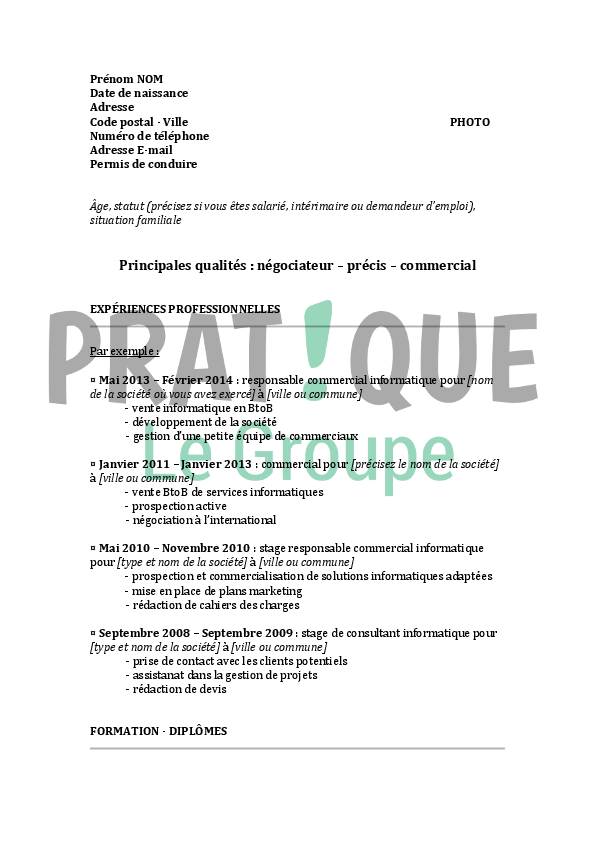 mod u00e8le de cv pour un emploi d u0026 39 ing u00e9nieur technico