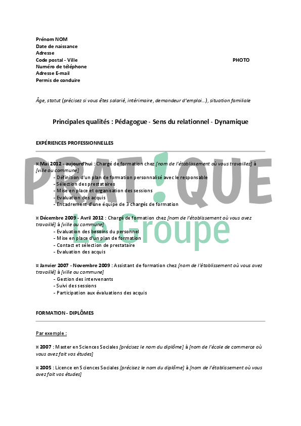 mod u00e8le de cv pour un emploi de charg u00e9 de formation