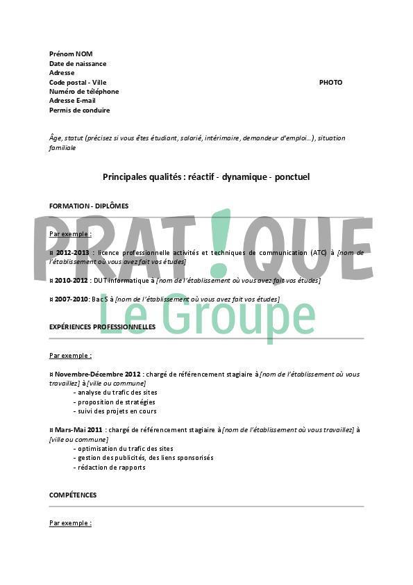 Exemple de CV charge de referencement web