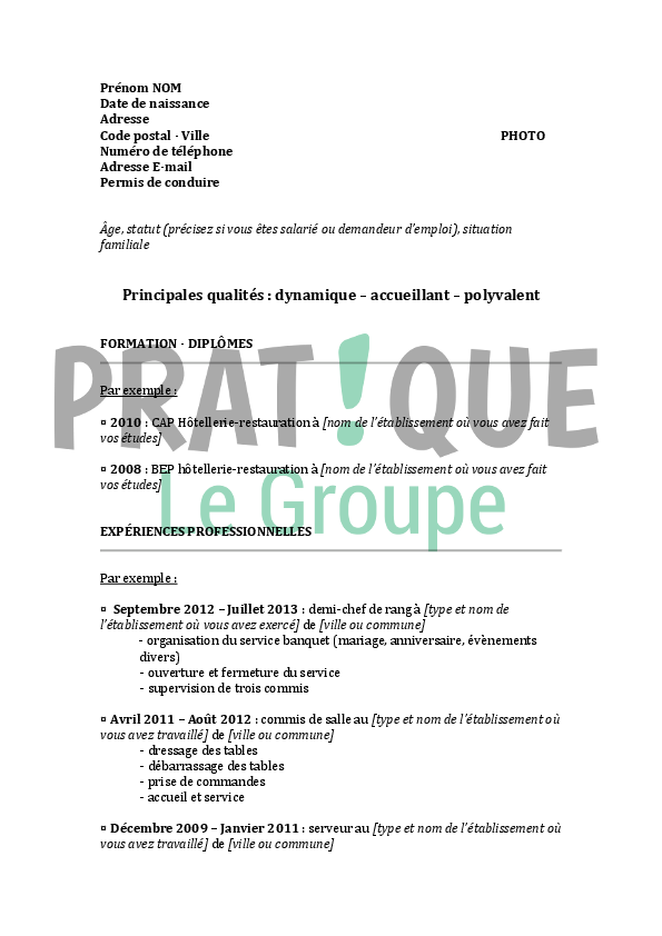 Cv chef de rang restauration for Restauration emploi