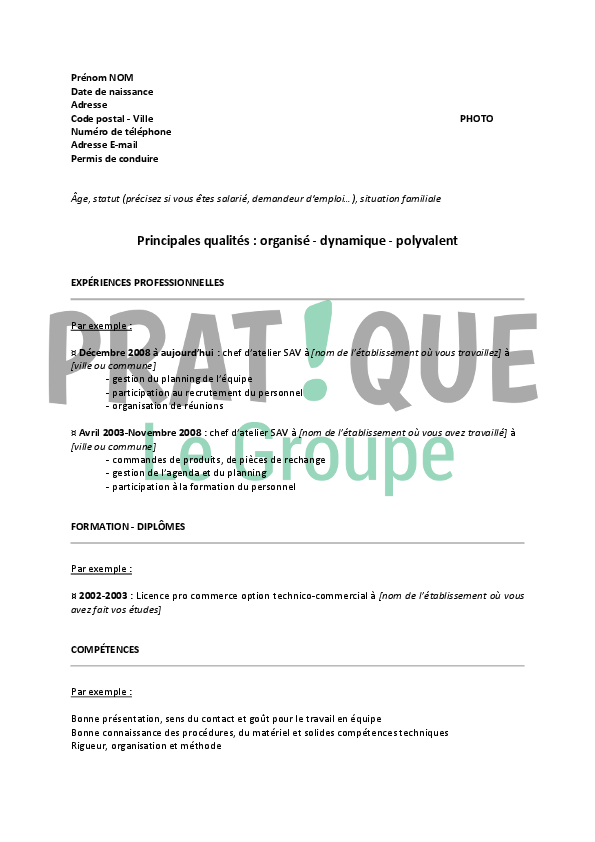 Exemple cv chef d atelier for Offre emploi chef gerant restauration collective