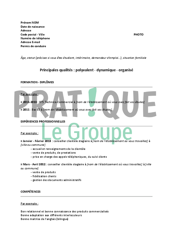 mod u00e8le de cv pour un emploi de conseiller client u00e8le