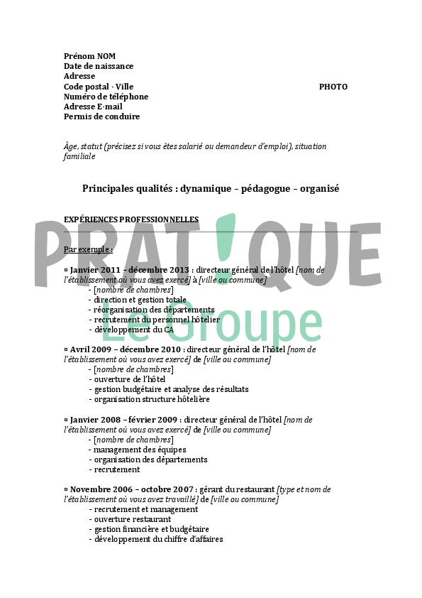 mod u00e8le de cv pour un emploi de directeur d u0026 39 h u00f4tel confirm u00e9