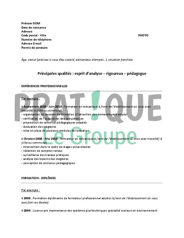 Fiche m tier mecanicien automobile for Formateur en cuisine