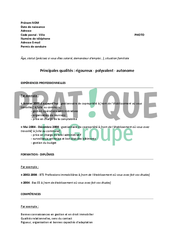 exemple de cv syndic de copropriete