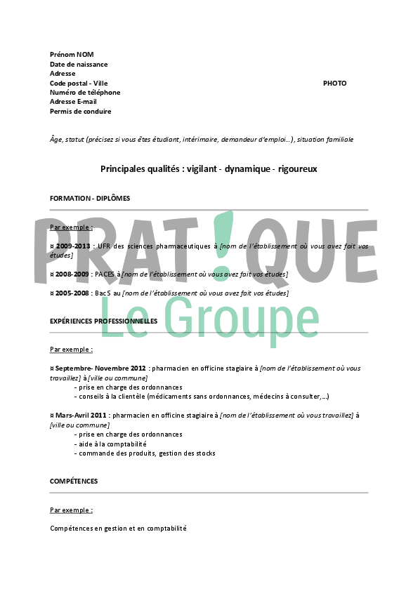 exemple cv pharmacien assistant