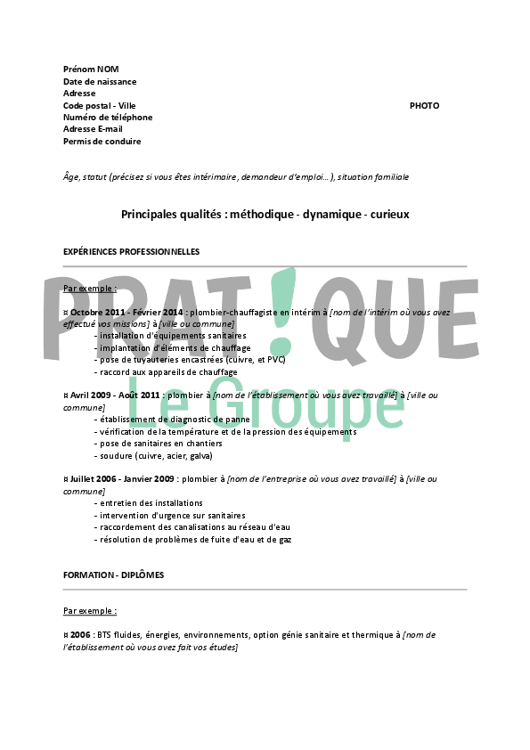 Exemple de CV technicien d'intervention clientele gaz