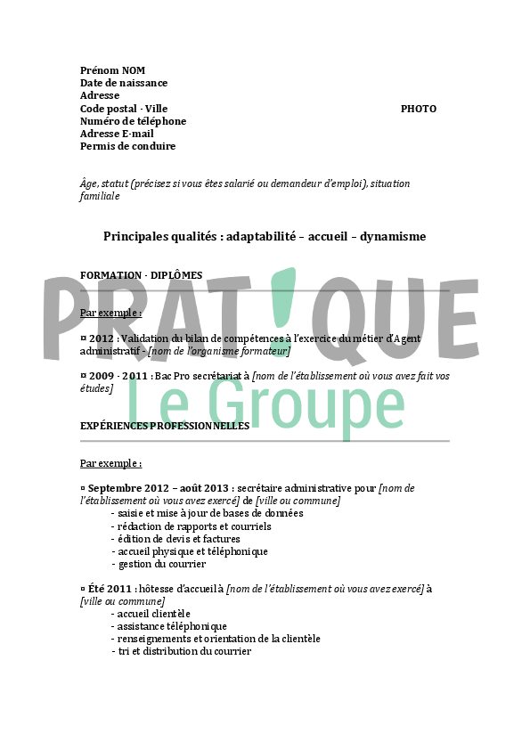 mod u00e8le de cv pour un emploi de secr u00e9taire administrative
