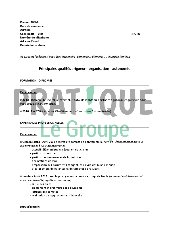 mod u00e8le de cv pour un emploi de secr u00e9taire comptable