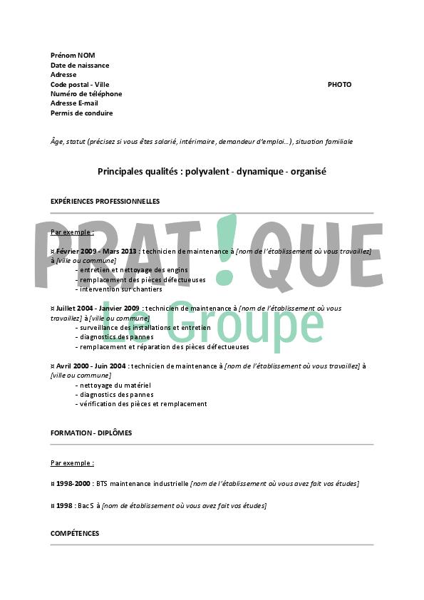 resume format  mod u00e8le cv technicien de maintenance