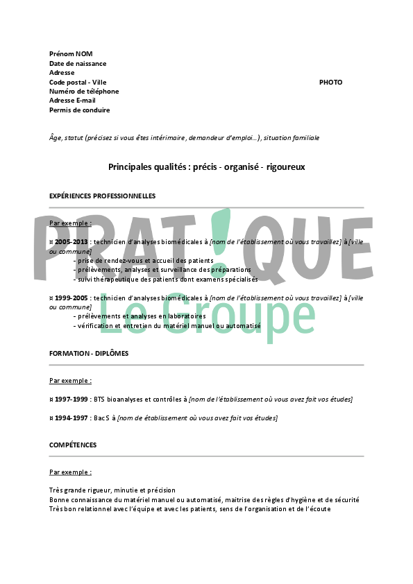exemple de cv technicien d u0026 39 analyses biomedicales