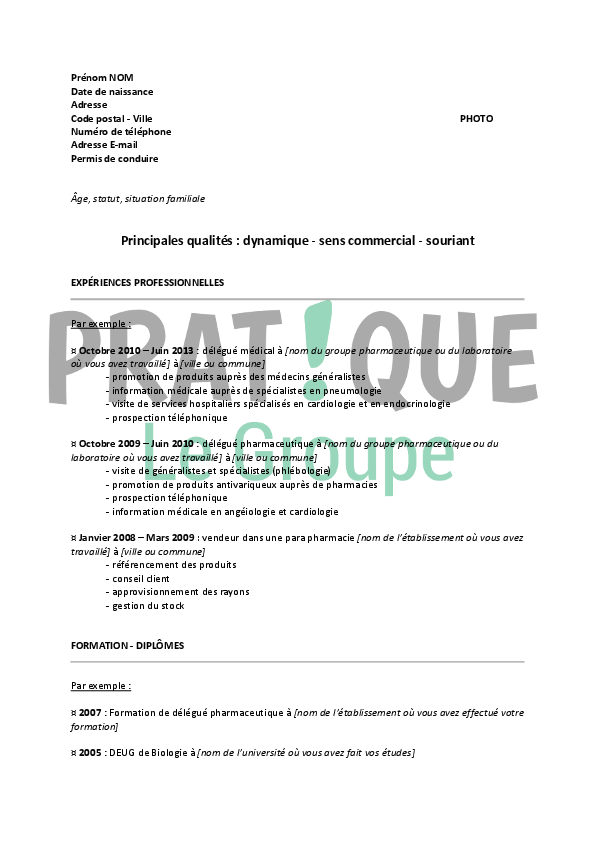 exemple cv visiteur medical