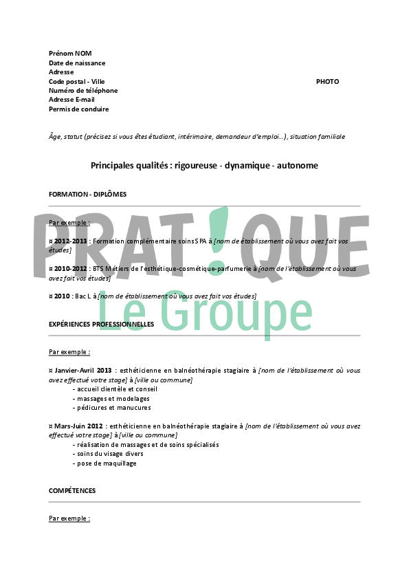 exemple de cv pedicure
