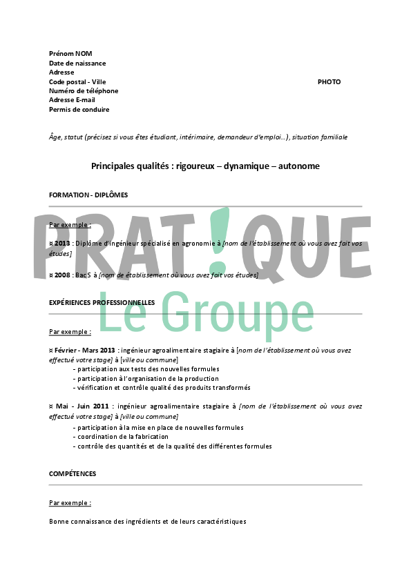 mod u00e8le de cv pour un emploi d u2019ing u00e9nieur agroalimentaire
