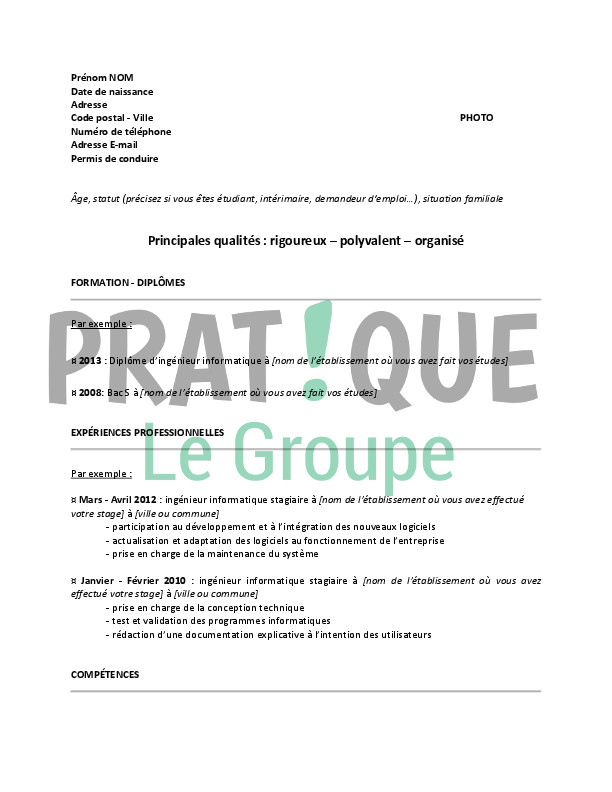 mod u00e8le de cv pour un emploi d u2019ing u00e9nieur informatique d u00e9butant