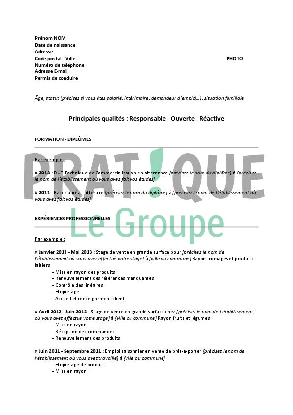 mod u00e8le de cv pour un poste d u0026 39 employ u00e9e commerciale
