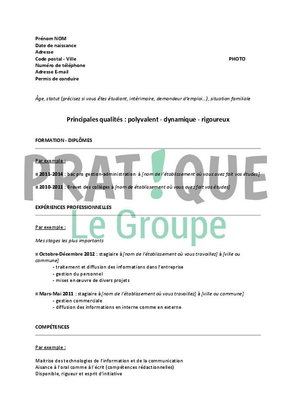 exemple cv stage bac pro