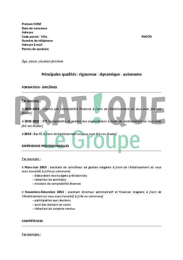 Mod le de cv pour un stage de comptabilit et finance - Cabinet de recrutement comptabilite finance ...