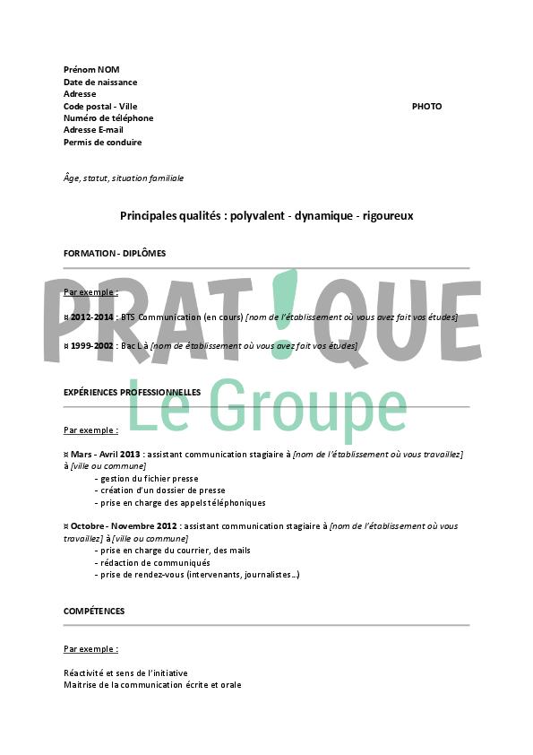 Extrem Modèle de CV pour un stage d'assistant communication   Pratique.fr WI37