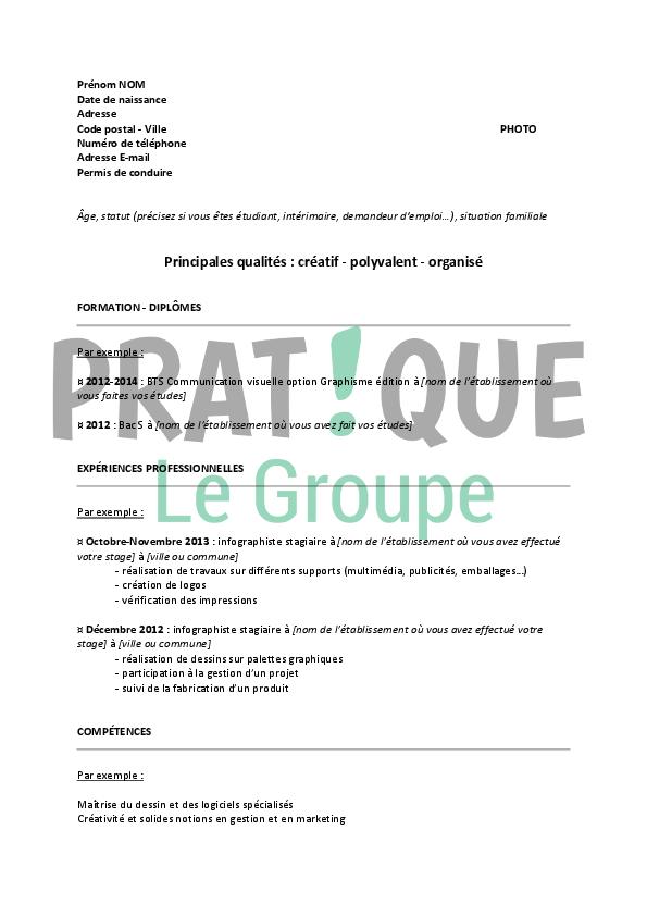 Modèle De Cv Pour Un Stage D Infographiste Pratique Fr