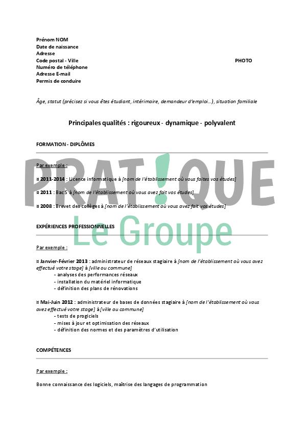 Modele De Cv Pour Un Stage En Licence Informatique Pratique Fr