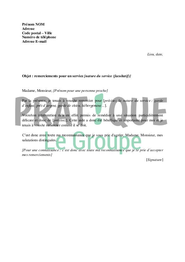 Modèle de lettre de remerciements pour un service rendu | Pratique.fr